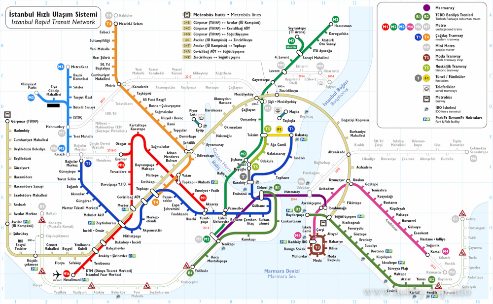 Карта на метрото в Истанбул, Турция
